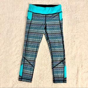 Lululemon wonder under blue striped yoga pants